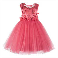 Butterfly Applique Coral Knee Length Party  Frock