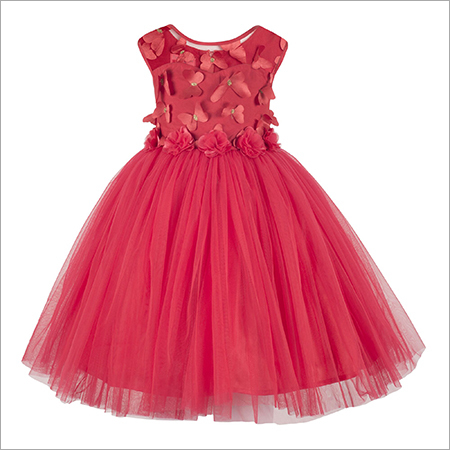 Butterfly Applique Red Frock.