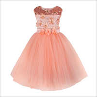 Flower Applique Peach Frock