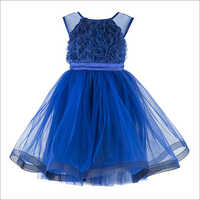 Blue Knee Length Party  Frock