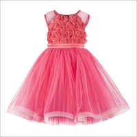 Rose Applique Coral Frock.