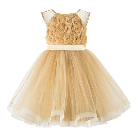 Applique Golden Knee Length Girls Party Frock