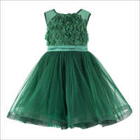Rose Applique Green Frock.
