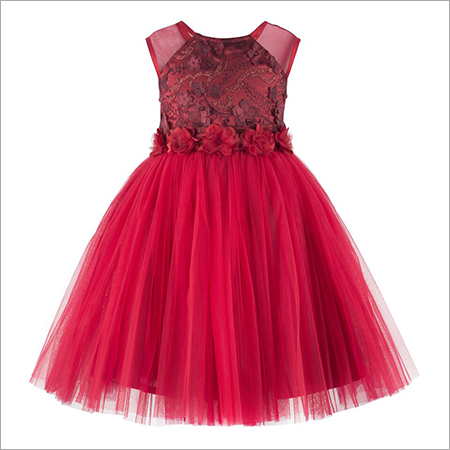Flower Bead Applique Red  Frock.