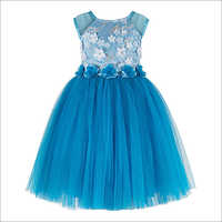 Flower bead Applique Sky Blue Frock