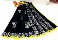 Mulmul Cotton Saree With pompom Lace with Blouse