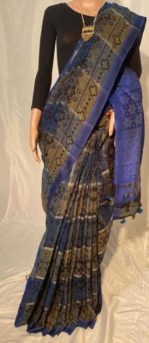 Pure Linen By Linen 120 Count Hand Block Printed Saree.