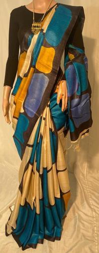 Pure Tussar Silk Hand Printed Saree