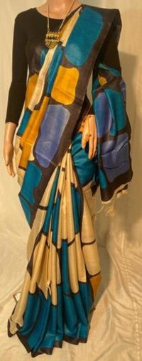 Pure Tussar Silk Hand Printed Saree