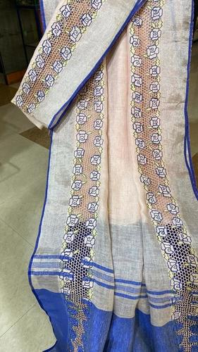Pure Linen By Linen 120 Count Cut Work Saree.