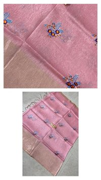 Pure Linen Silk Saree With Machine Embroidery  All Over Saree.
