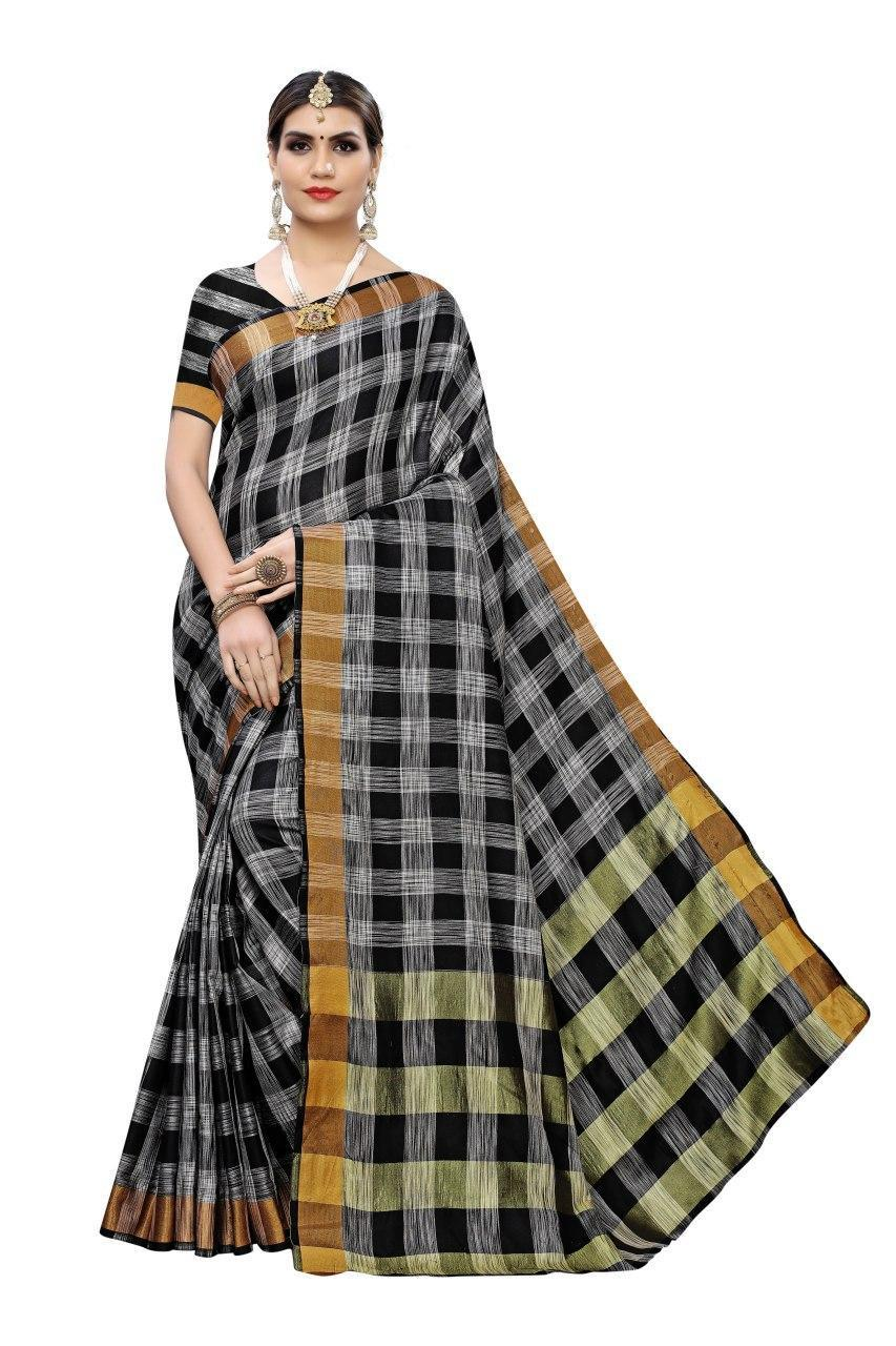 Checks  Linen Saree