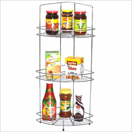 SS Triple Shelf Corner Basket