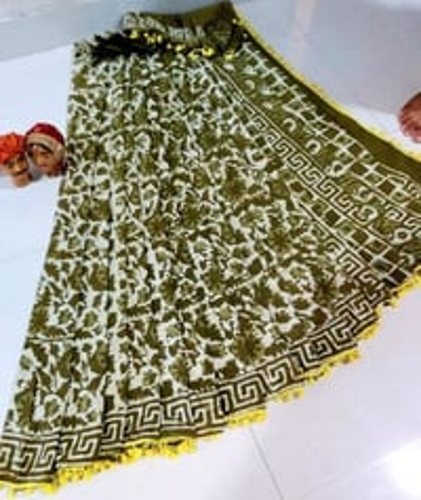 Bagru Print Cotton Saree With Pumpum Lace With Blouse