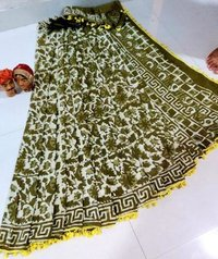Bagru Print Cotton Saree With Pumpum Lace With Blouse