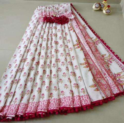 Cotton Mulmul Saree With pompom Lace with Blouse