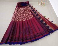 Cotton Saree With Blouse and Pompom Lace