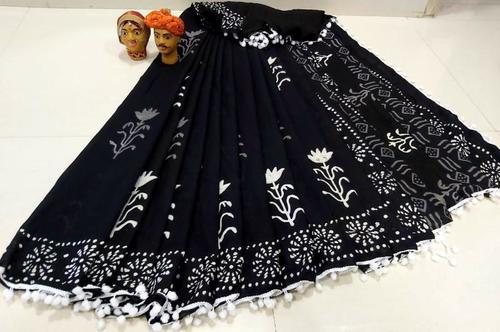 Mulmul Cotton Saree With Blouse ans Pompom Lace