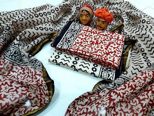 Cotton Printed Suit Gold Zari Duppatta