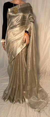 PURE TISSUE TUSSAR SILK HANDLOOM ALL OVER WOVEN SAREES.