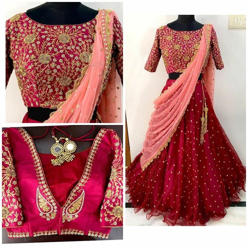 Traditional Red Net Embroidered Hand Work Lehenga