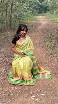 Pure Tissue By Linen Jacquard Weaving Saree.