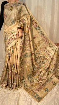 Pure Kosa Silk Kantha Embroidery Saree.