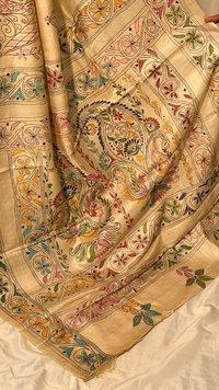Pure Kosa Silk Kantha Embroidery Saree.