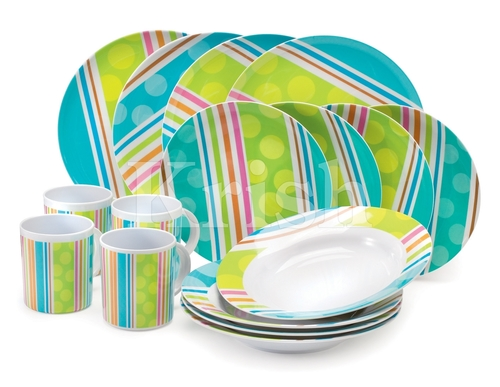 16 Pcs Melamine Dinner Set - RainbowStripes