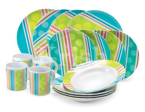 16 Pcs Melamine Dinner Set - RainbowStripes