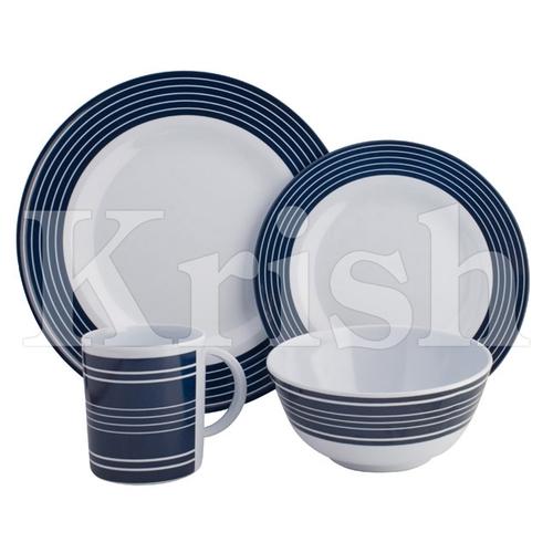 16 Pcs Navy Strip Dinner Set