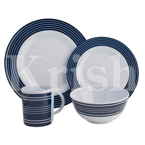 16 Pcs Navy Strip Dinner Set