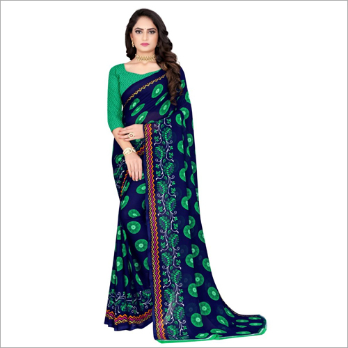 Ladies Printed Poly Georgette Saree
