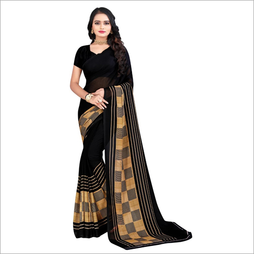 Multicolor Poly Georgette Saree