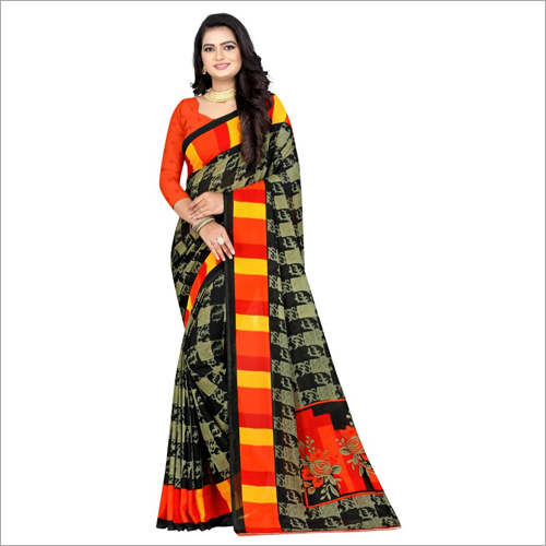 Fashionable Poly Georgette Saree
