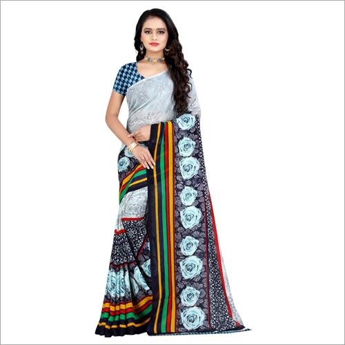 Ladies Multicolor Poly Georgette Saree