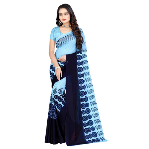 Daily Wear Poly Printed Sky Blue Georgette Saree