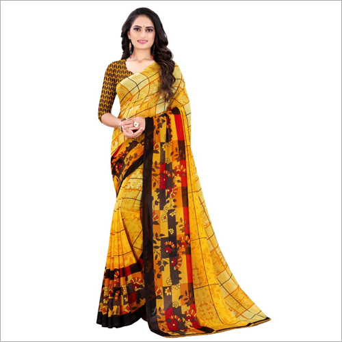 Daily Wear Poly Yellow Georgette Saree