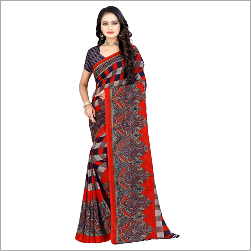 Ladies Light Weight Poly Georgette Saree