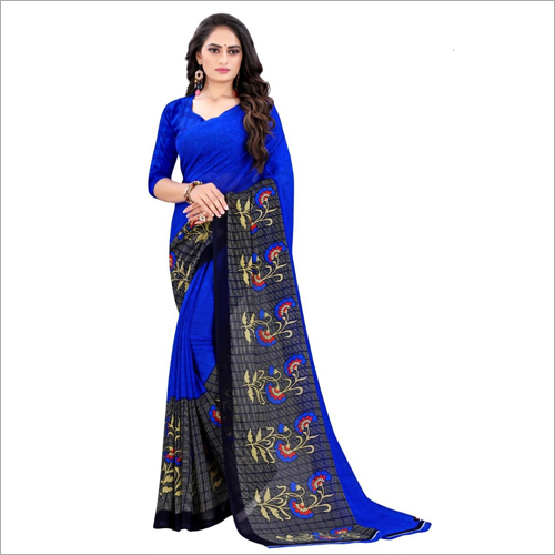 Printed Poly Blue Georgette Saree