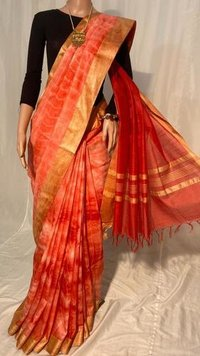 Pure Linen Silk Tie and Die Saree
