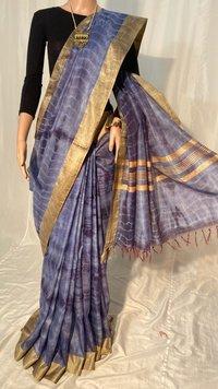 Pure Linen Silk Tie and Die Saree