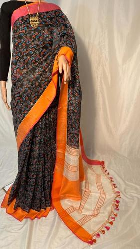 Pure Linen by Linen 120 Count Madhubani Printed Saree