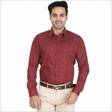 Dark Red Casual Shirts
