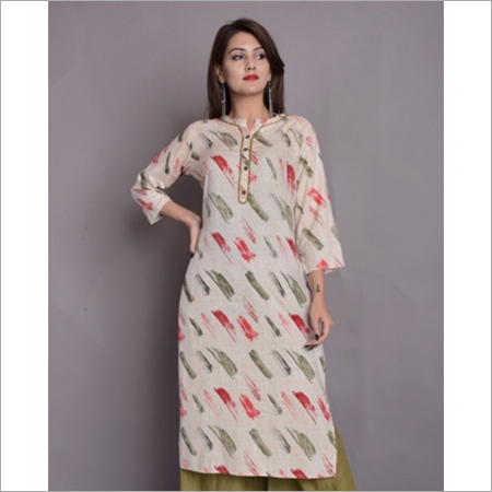 Cream Multicolor Pattern Kurti