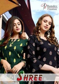 Heavy Premium Rayon With Block Print Kurti