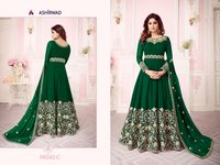 DRESS Georgette With Coding Embroidery work + Stone