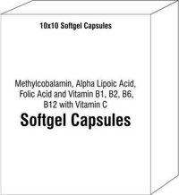 Methylcobalamin Alpha Lipoic Acid Folic Acid and Vitamin B1 B2 B6 B12 with Vitamin C Softgel Capsule