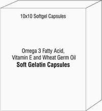 Softgel Capsule of Omega 3 Fatty Acid Vitamin E and Wheat Germ Oil