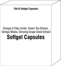 Soft Gel Capsules of Omega-3 Fatty Acids Green Tea Extract Ginkgo Biloba Ginseng Grape Seed Extract